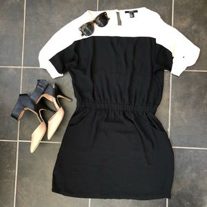 Black and white dress with elastic waist